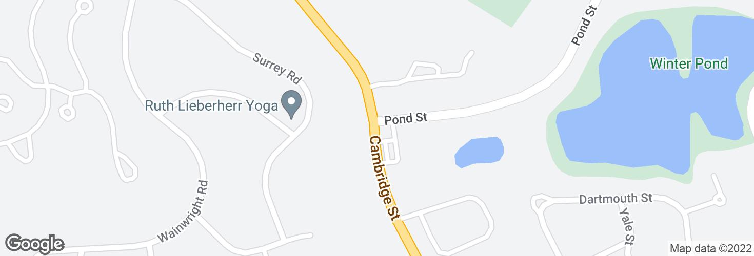 Map of Cambridge St @ Pond St and surrounding area