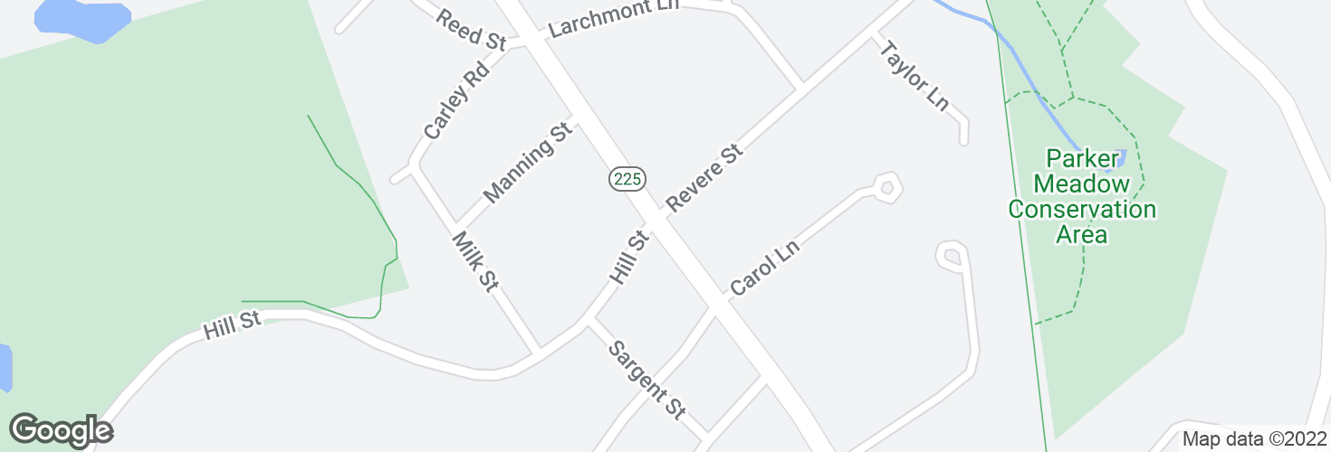 Map of Bedford St @ Revere St and surrounding area
