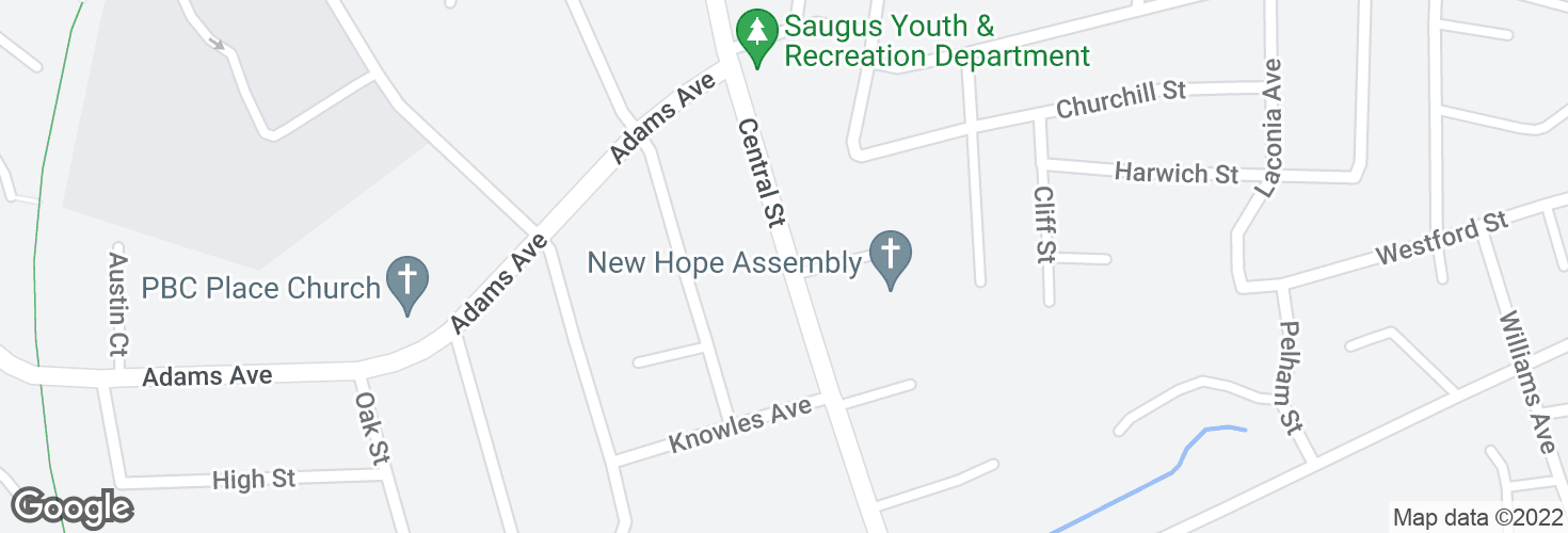 Map of Central St opp Assembly Ave and surrounding area