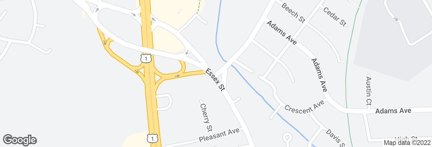 Map of Vine St @ Essex St and surrounding area