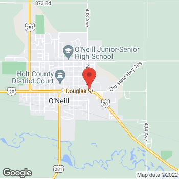 Map of Taco John's at 1002 E Douglas St, O'Neill, NE 68763
