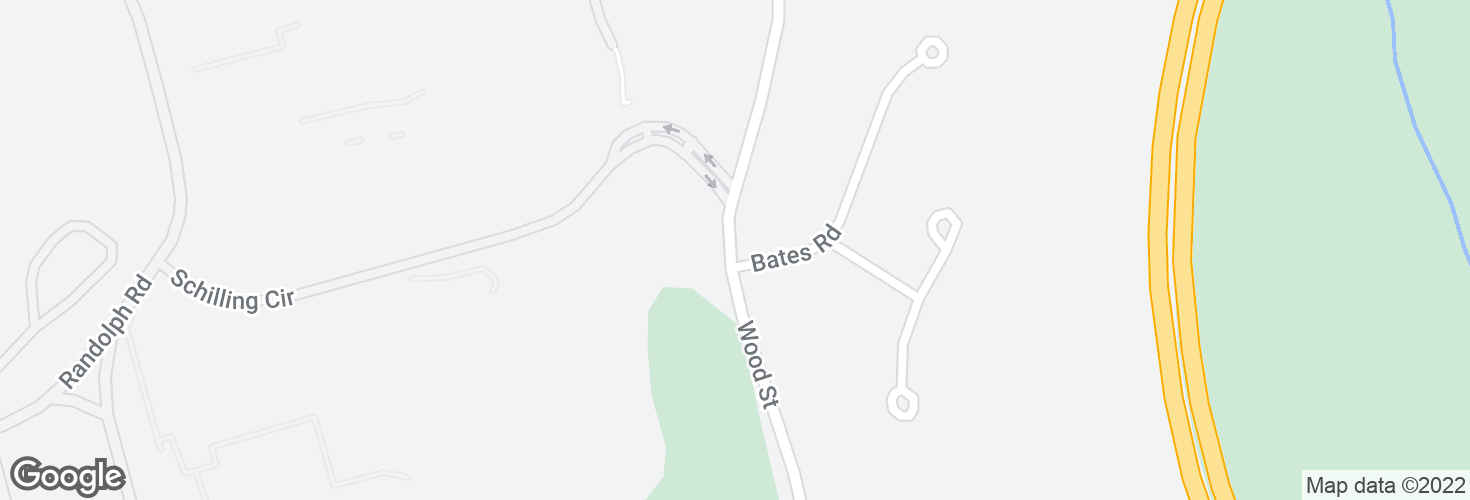 Map of Wood St @ Bates Rd and surrounding area