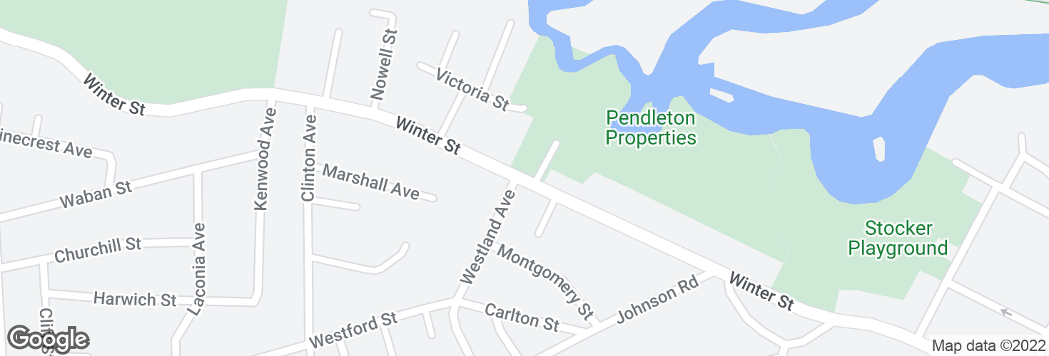 Map of Winter St opp Westland Ave and surrounding area