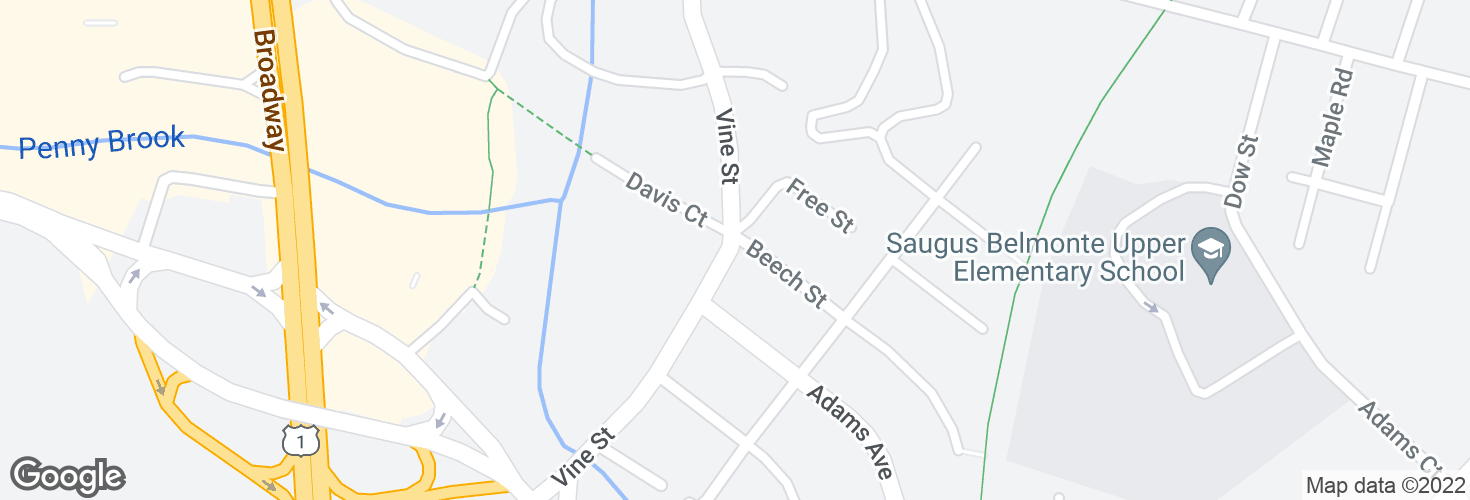 Map of Vine St @ Beech St and surrounding area