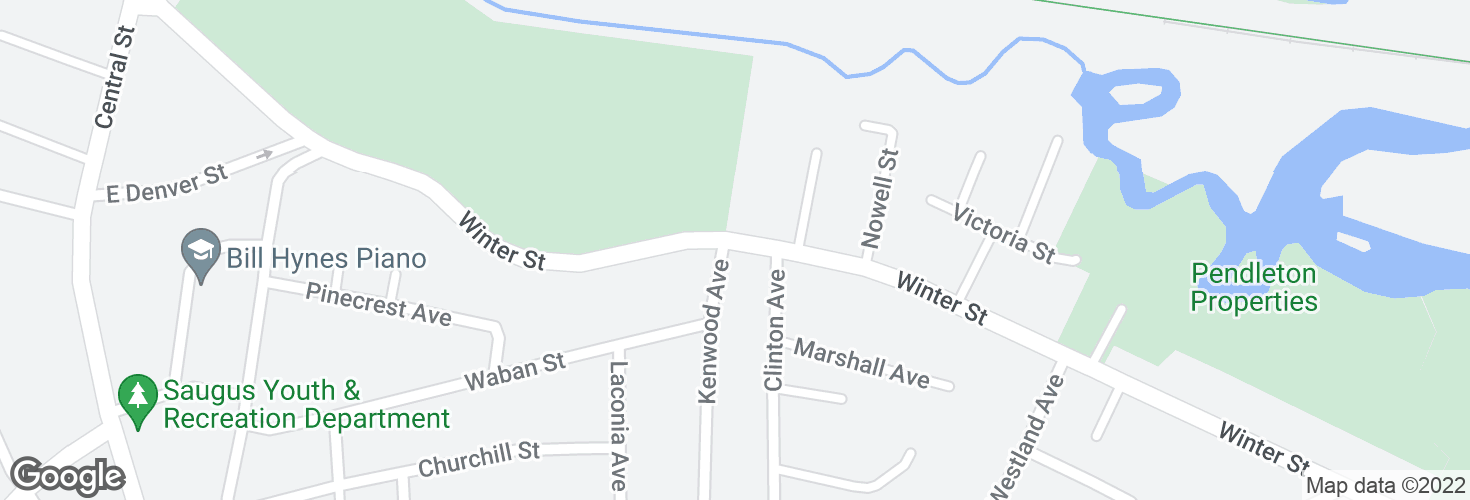 Map of Winter St @ Kenwood Ave and surrounding area