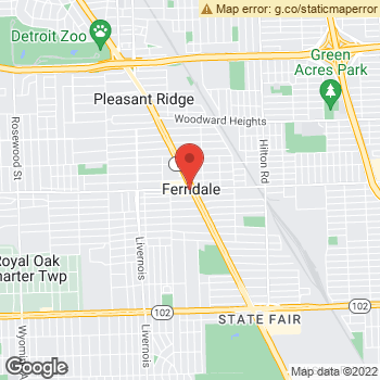 Map of Dr. Brittany Adams, Optometrist, and Associates - Ferndale at 22757 Woodward Ave, Ferndale, MI 48220