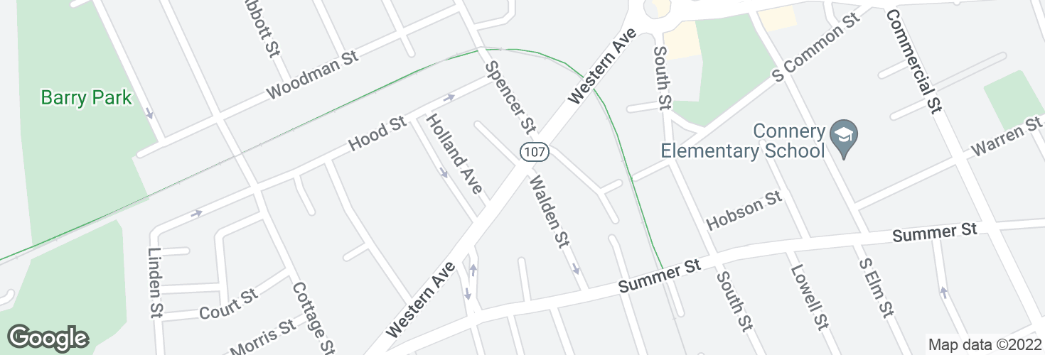 Map of Western Ave @ Walden St and surrounding area