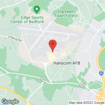 Map of Lester Sheehan, MD at 1609 Eglin Streethanscom Air Force Base, Bedford, MA 01731