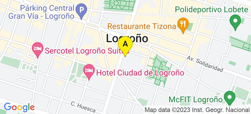 situacion en el mapa de . Direccion: Vara de Rey 33, 1º D, 26002 Logroño. La Rioja