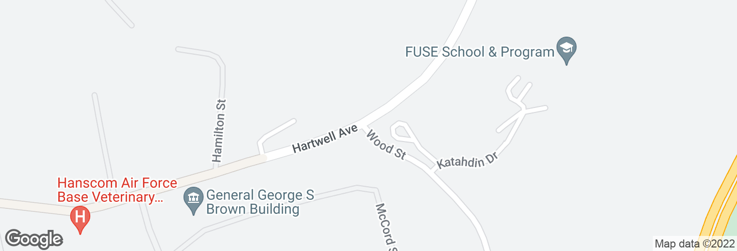 Map of Hartwell Ave @ Wood St - AFB Hartwell Gate and surrounding area