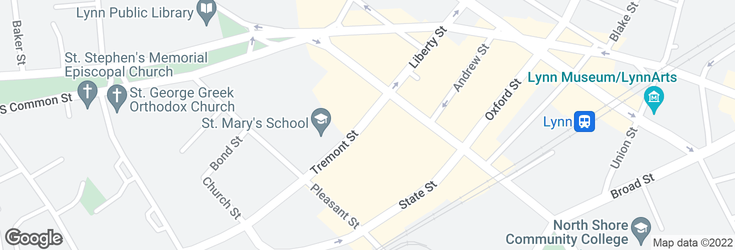 Map of Tremont St opp St Mary's High School and surrounding area