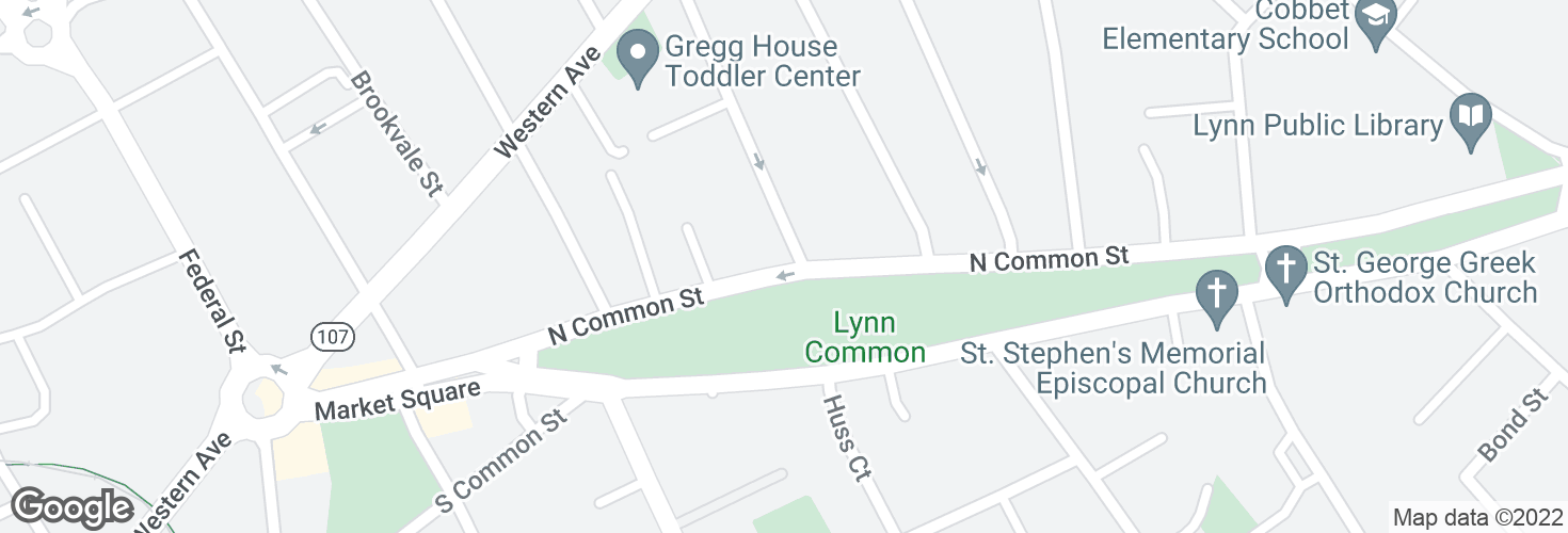 Map of N Common St @ Park St and surrounding area
