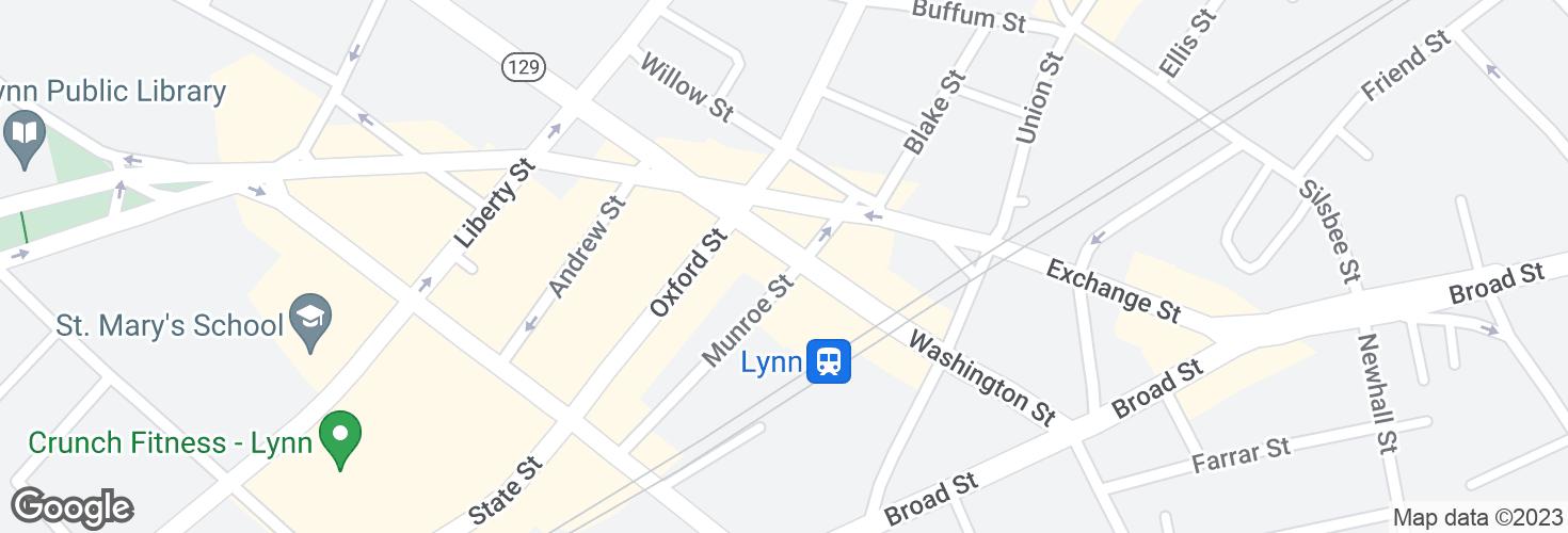 Map of Washington St @ Munroe St and surrounding area