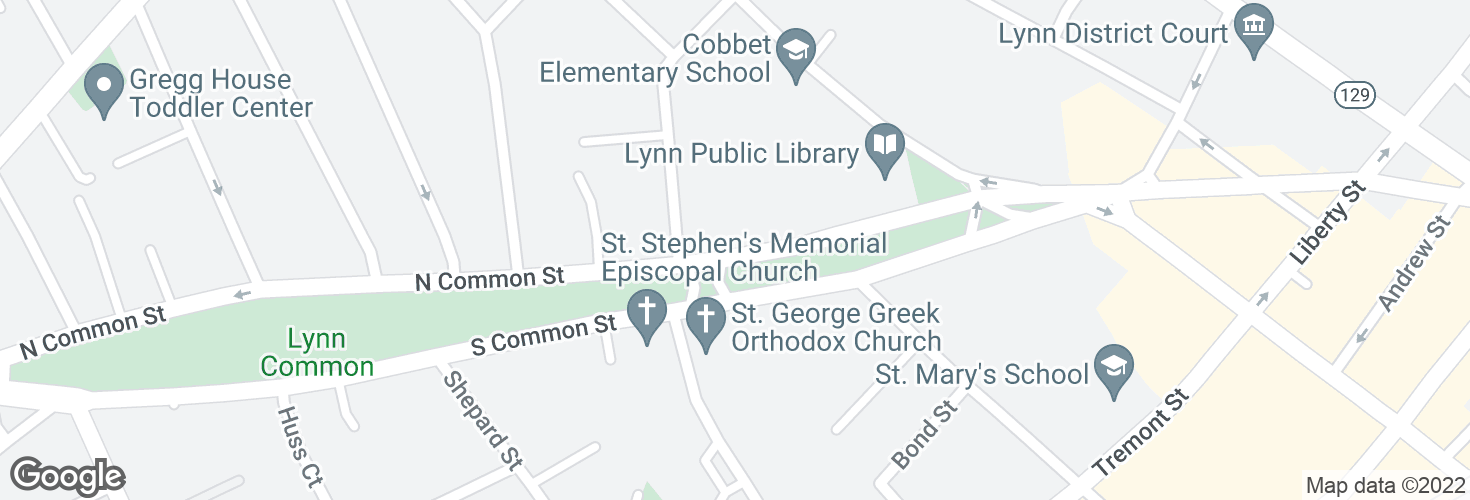 Map of N Common St @ Hanover St and surrounding area