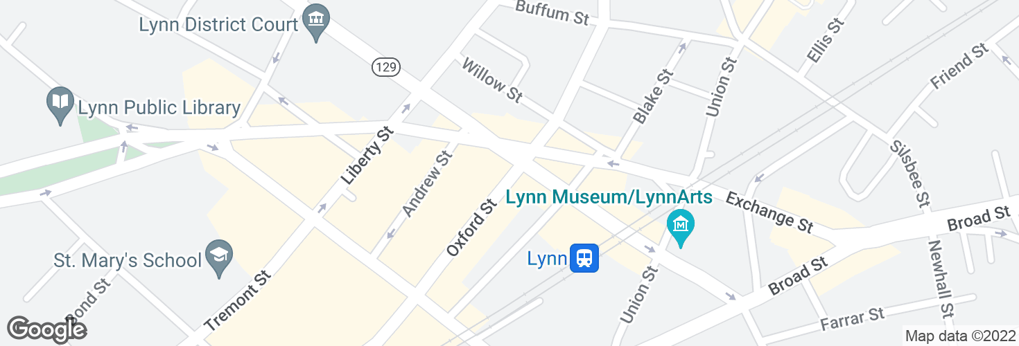 Map of Oxford St @ Washington St and surrounding area