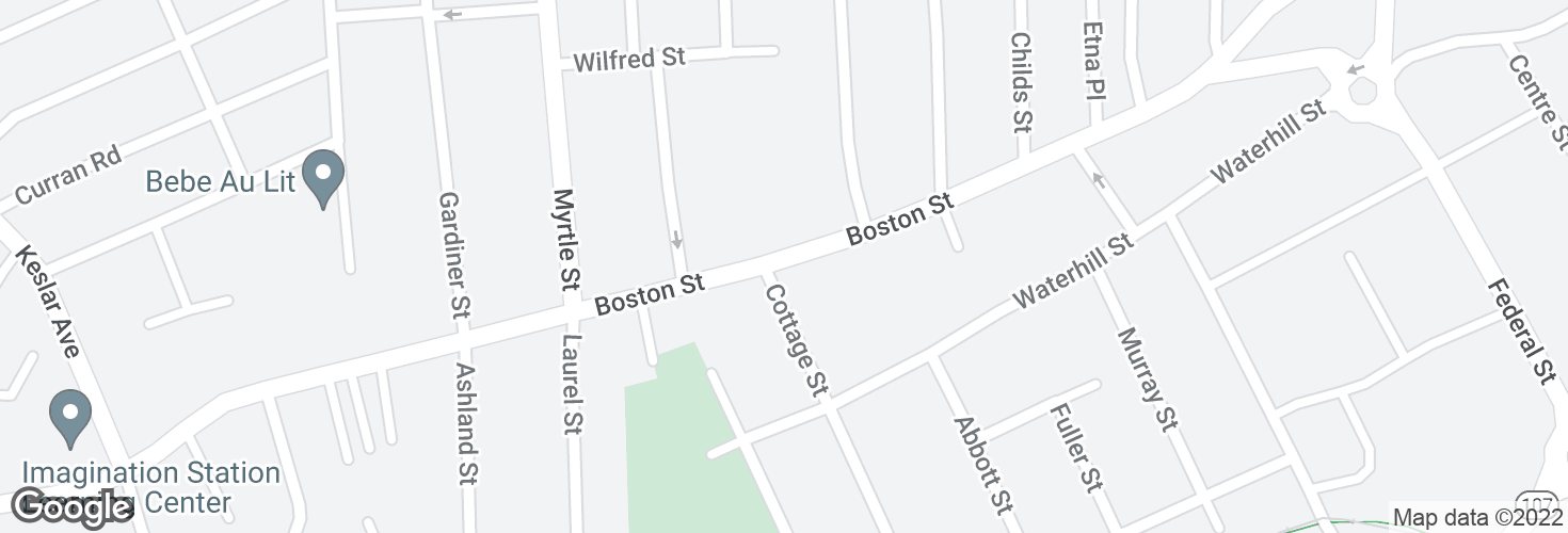 Map of Boston St @ Cottage St and surrounding area