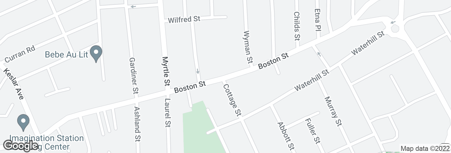 Map of Boston St opp Cottage St and surrounding area
