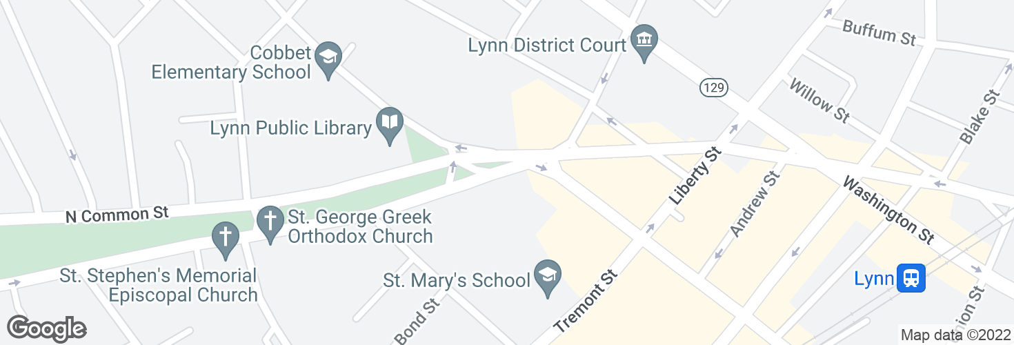 Map of S Common St @ Market St and surrounding area
