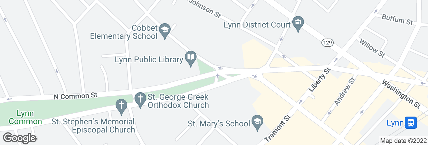 Map of N Common St @ Franklin St and surrounding area