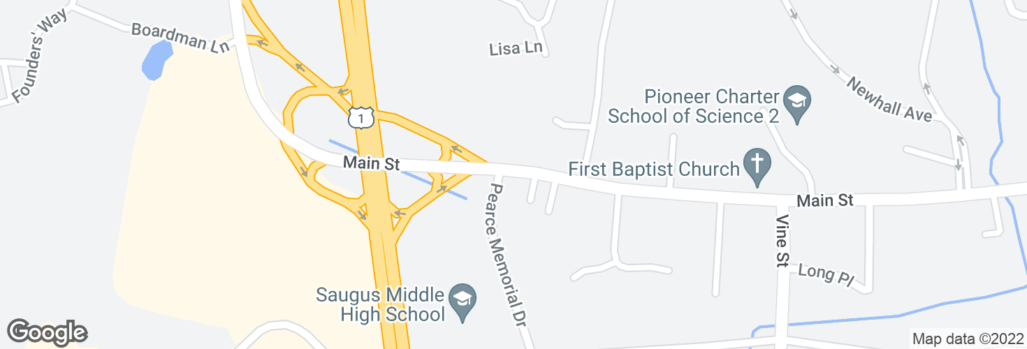 Map of Main St @ Pierce Memorial Dr and surrounding area