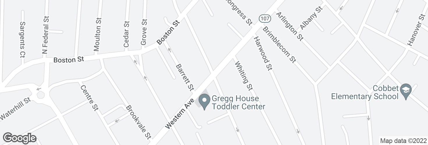 Map of Western Ave @ Park St and surrounding area