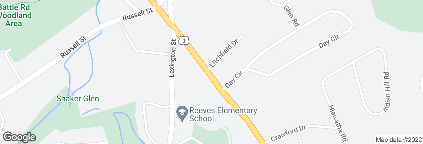 Map of Cambridge Rd @ Litchfield Dr and surrounding area