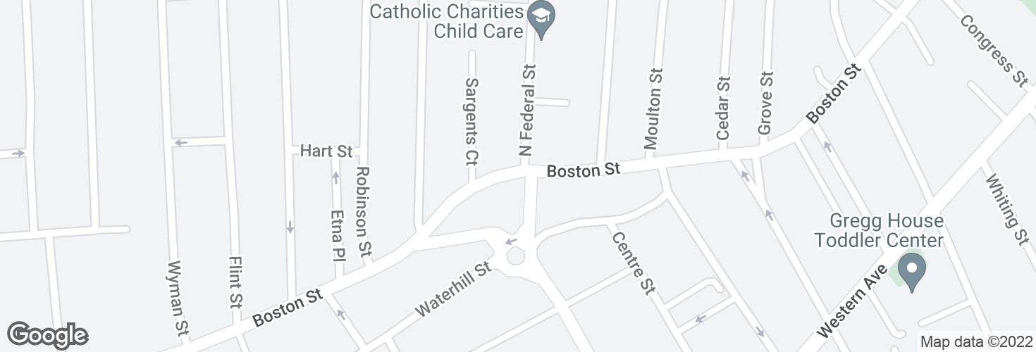 Map of Boston St @ Federal St and surrounding area