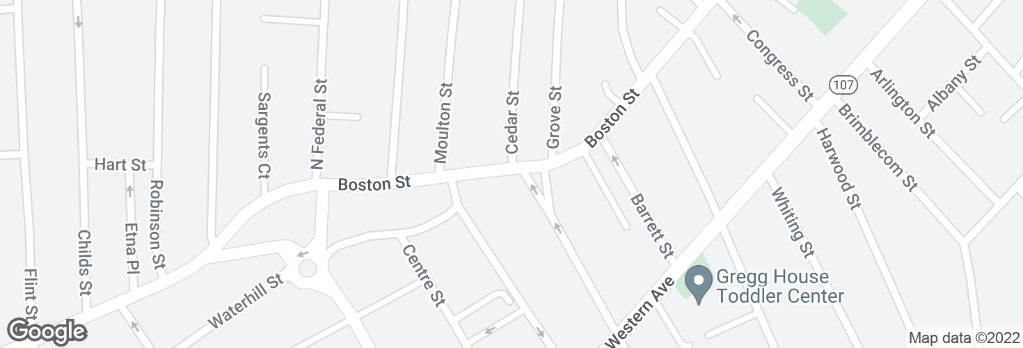 Map of Boston St @ Mall St and surrounding area
