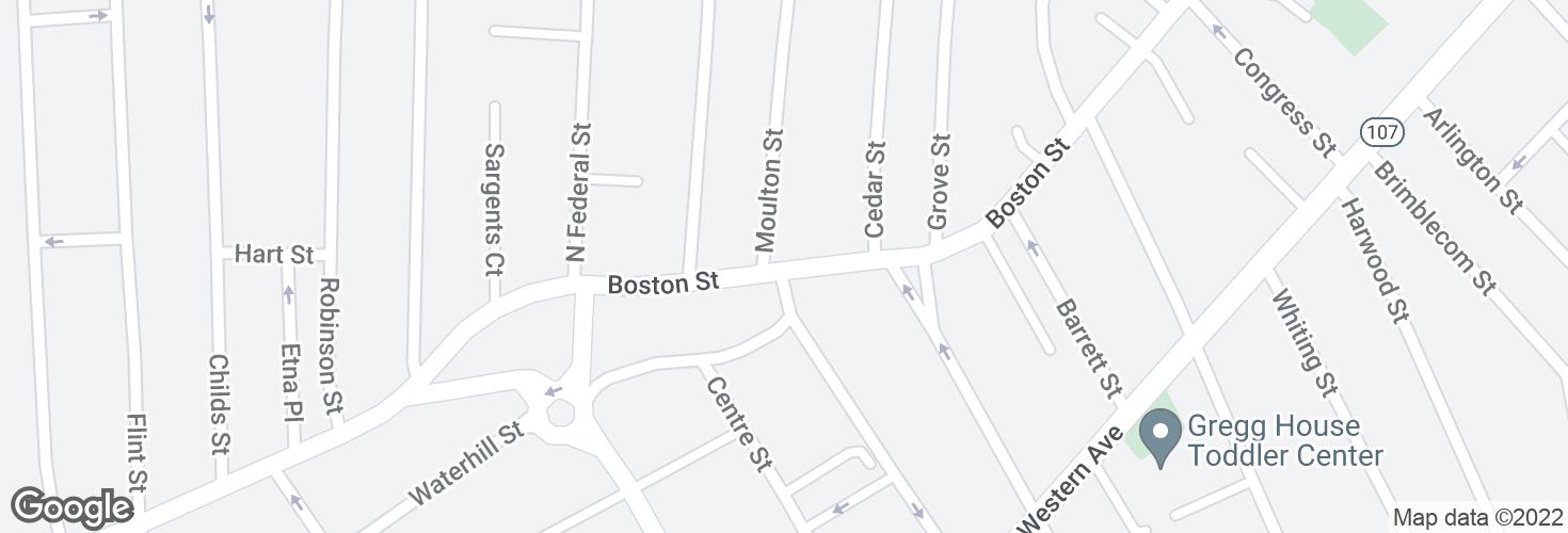Map of Boston St @ Moulton St and surrounding area