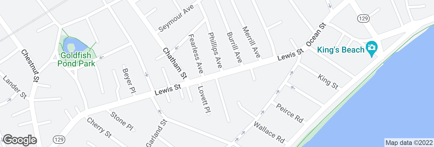 Map of Lewis St @ Phillips Ave and surrounding area