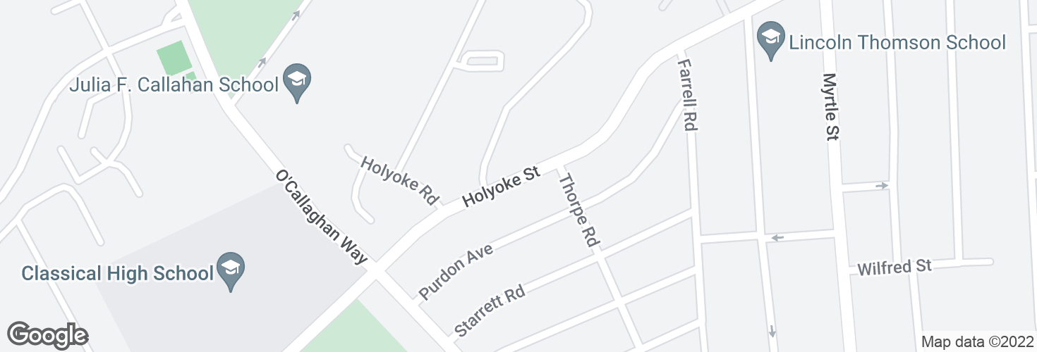 Map of Holyoke St opp Thorpe Rd and surrounding area