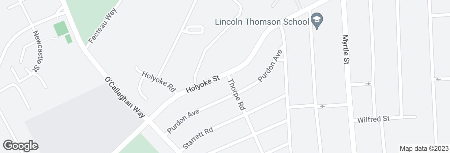 Map of Holyoke St @ Thorpe Rd and surrounding area