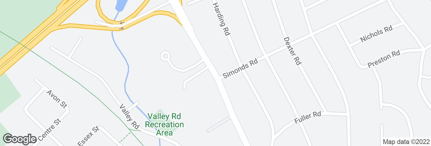 Map of Bedford St @ Simonds Rd and surrounding area