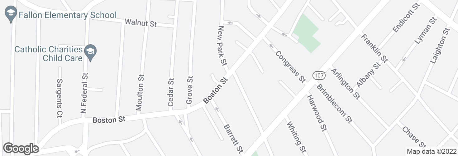Map of Boston St @ Park St and surrounding area