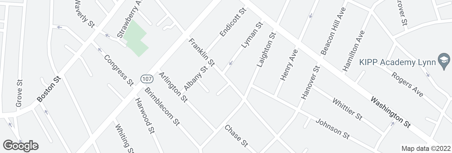 Map of Franklin St @ Lyman St and surrounding area