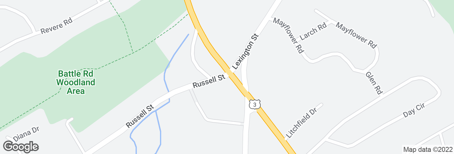 Map of Russell St @ Cambridge St and surrounding area