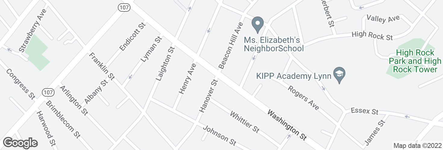 Map of Washington St @ Beacon Hill Ave and surrounding area