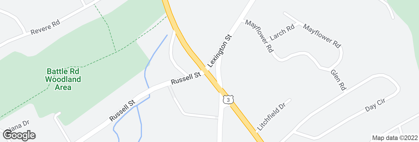 Map of Cambridge Rd @ Russell St and surrounding area