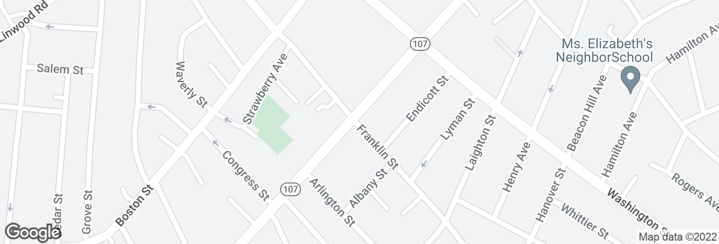 Map of Franklin St @ Western Ave and surrounding area