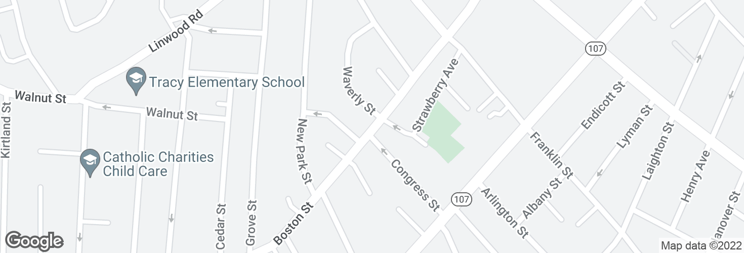 Map of Boston St @ Waverly St and surrounding area