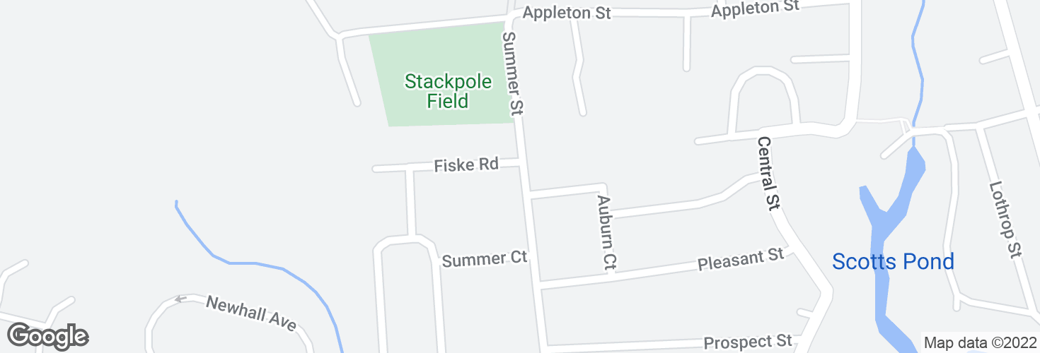 Map of Summer St @ Fiske Rd and surrounding area