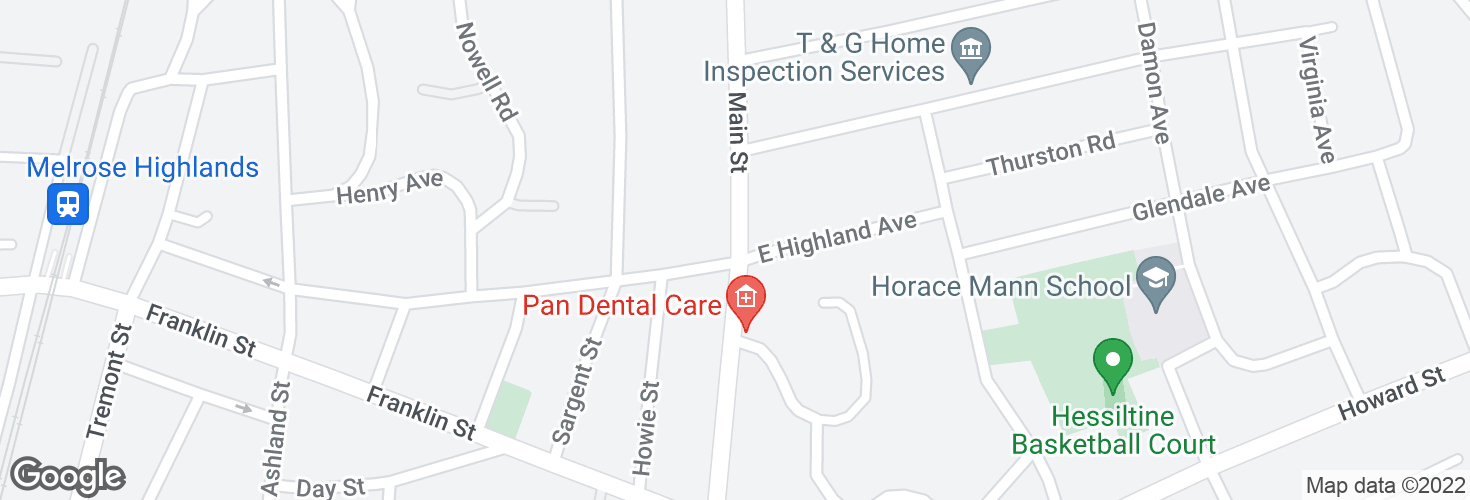 Map of Main St @ W Highland Ave and surrounding area