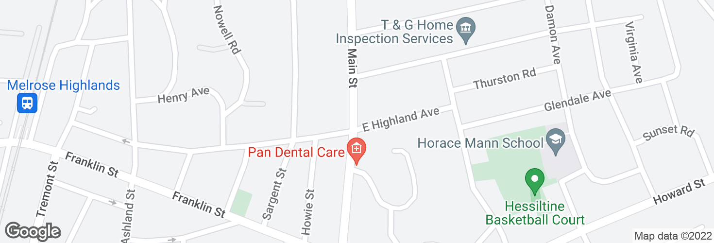 Map of Main St @ E Highland Ave and surrounding area
