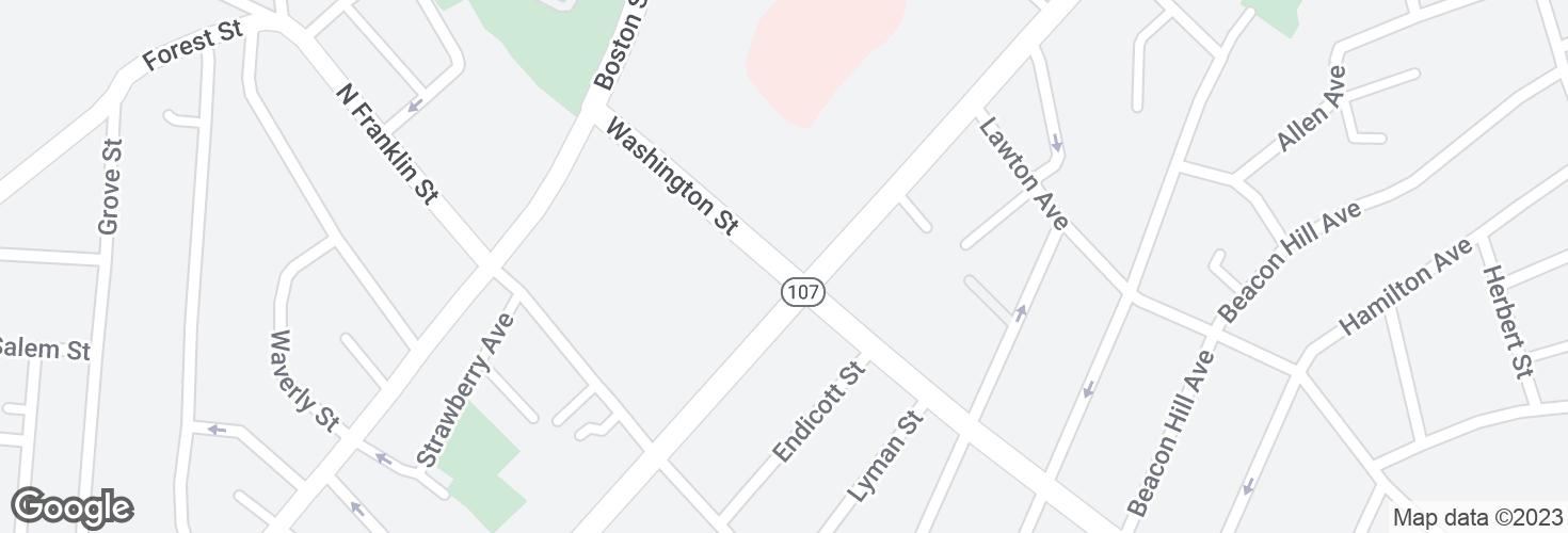 Map of Washington St @ Western Ave and surrounding area