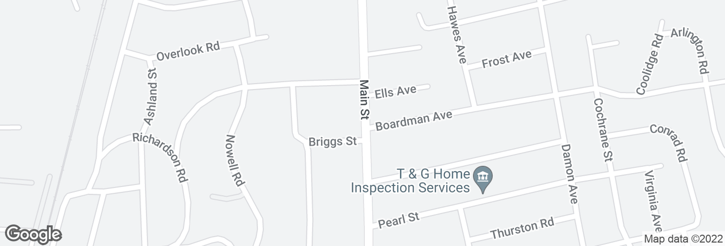Map of Main St @ Briggs St and surrounding area