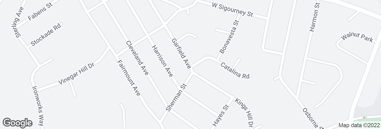 Map of Garfield Ave @ Catalina Rd and surrounding area