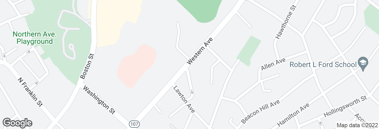 Map of Western Ave @ Bellair St and surrounding area