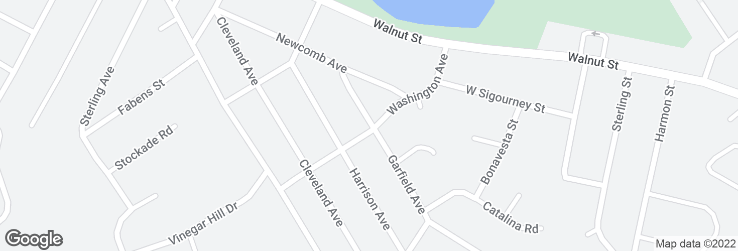 Map of Garfield Ave @ Washington Ave and surrounding area