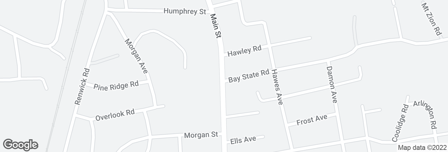 Map of Main St @ Bay State Rd and surrounding area