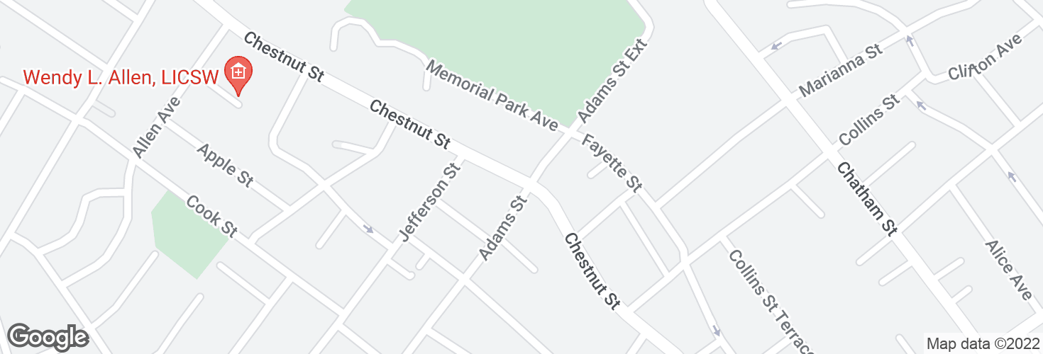 Map of Chestnut St @ Adams St and surrounding area